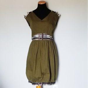 Nadia Nour Anthropologie Olive Green Grid Dress 8
